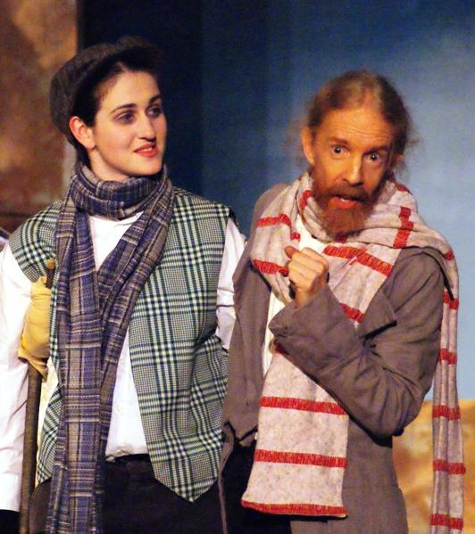 Pamela in A Gilbert & Sullivan Christmas Carol 2008 — 'Tiny Tim', with Tracy Burdick — 'Bob Cratchit'
