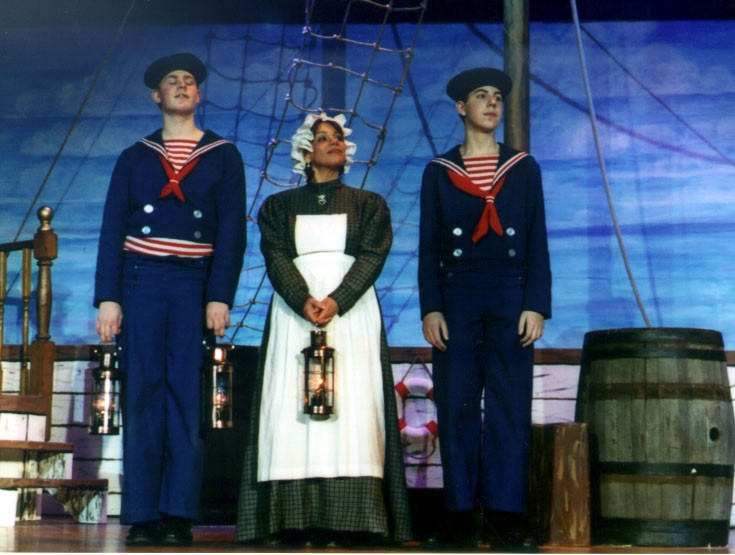 Chris in HMS Pinafore 2002, with Ethan DePuy and Josette M. Battisti