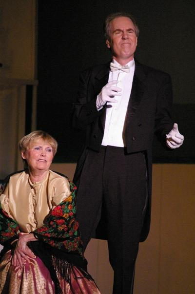 Bob in HMS Pinafore 2008 — 'Captain Corcoran', with Kathy Manners — 'Buttercup'