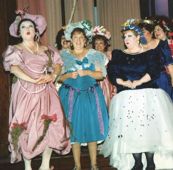 Barbara in Iolanthe 1996 — 'Leila', with Lynette Blake — 'Fleta', and Anne Virgil — 'Ceila'