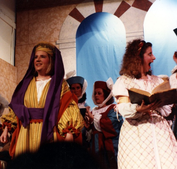 Sarah in Princess Ida 1990 — 'Melissa', with Anne Virgil — 'Lady Psyche', Nancy Galletto, and Molly Moore