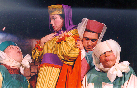 Lynette in Princess Ida 1997 — 'Lady Psyche', with Gordon V. Penniston — 'Cyril', Jonathan Mobley — 'Florian', and Brian Clickner — 'Hilarion'
