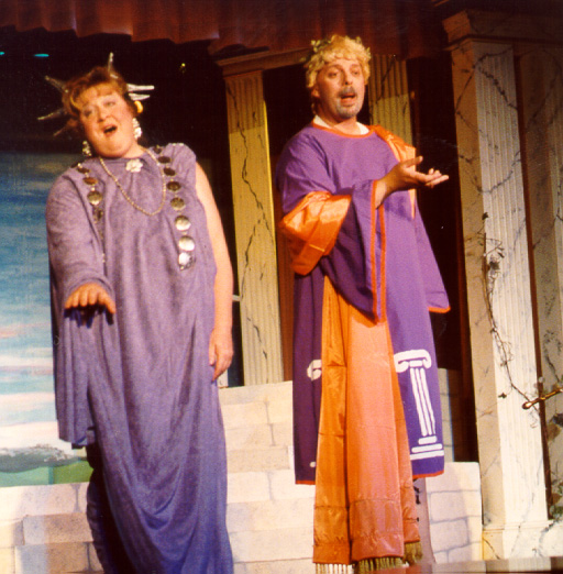 Brian in Thespis 2002 — 'Apollo', with Pamela Good — 'Diana'