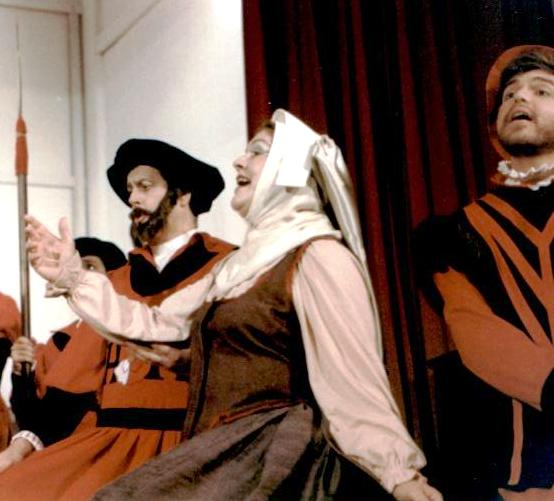 David in The Yeomen of the Guard 1988 — 'Sergeant Meryll', with Patricia Alexander — 'Dame Carruthers', and David Raymond — 'Lieutenant Cholmondely'