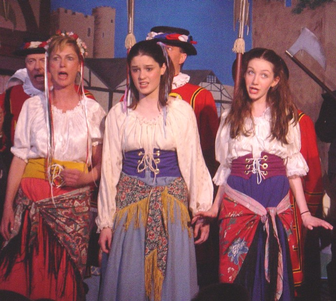 Lilah in The Yeomen of the Guard 2003, with Carla Phillips-Katz and Adrienne West